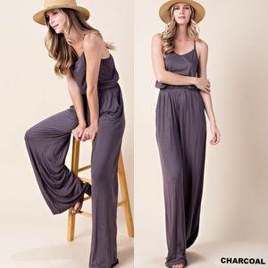 Pants - Last 1 Medium! Charcoal Jumpsuit